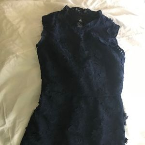 J Crew Lace Floral A-Line dress (Navy)